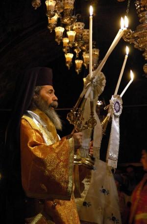 Su Beatitud Theophilos III, Patriarca greco-ortodoxo de Jerusalén.