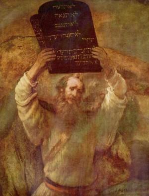 """""""Moisés con las Tablas de la Ley"""", óleo de Rembrandt van Rijn (1659). Gemäldegalerie  de Berlín, Alemania."""