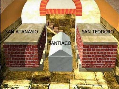 Diseño virtual de lo que pudo haber sido la cámara sepulcral de Santiago y sus dos discípulos en la primitiva iglesia.