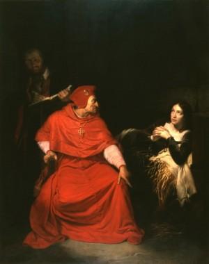 Juana de Arco, enferma, es interrogada en su celda por el cardenal de Winchester. Óleo de Paul Delaroche (1824), Museo de Bellas Artes de Rouen, Francia.