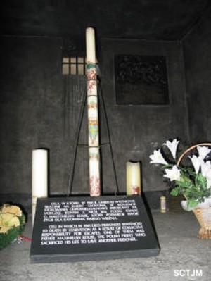 Vista de la celda que ocupó el Santo en el campo de concentración de Auschwitz (Polonia).