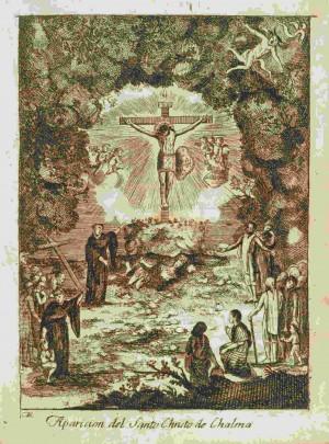 Aparición de la imagen del Señor de Chalma en la cueva donde se adoraba a la deidad Oztotéotl, grabado del siglo XVIII.