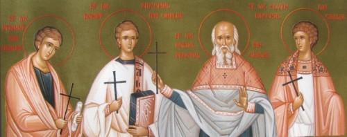 Icono ortodoxo rumano de los Santos Donato, Venustro, Rómulo y Silvano, mártires. Pintado por las  monjas del monasterio Diaconesti, Rumanía.