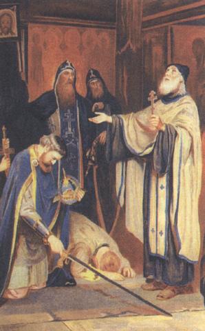 El Santo bendice a Dmitry Ivanovich antes de la batalla.