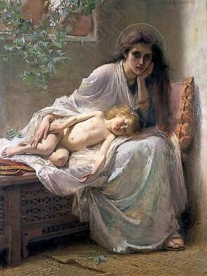 """""""Pero María guardaba todas estas cosas y las ponderaba en su corazón"""" (1888).  Lienzo de la pintora Alice Havers, Norfolk Museums, Inglaterra."""
