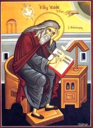 """Icono ortodoxo griego del Santo en su escritorio, redactando sus """"Homilías ascéticas""""."""