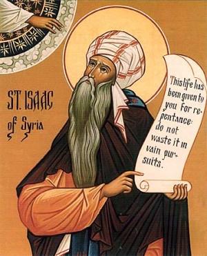 """Icono ortodoxo americano del Santo. La cartela que sostiene dice: """"Esta vida te ha sido dada para el arrepentimiento, no para que la pierdas persiguiendo vanidades""""."""