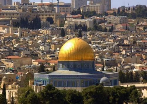 Detalle de la mezquita de la Roca en la panorámica de Jerusalén (Israel).