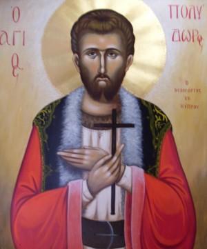 Icono ortodoxo griego del Santo, obra del iconógrafo Lefteris Skaliotis. Fuente: http://skaliotislefterisart.blogspot.com.es/