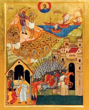Icono de los mártires de Otranto, que representa la invasión de la ciudad y el martirio.
