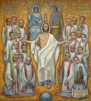 Vista de una pintura contemporánea que representa a los Beatos junto a la Sagrada Familia.