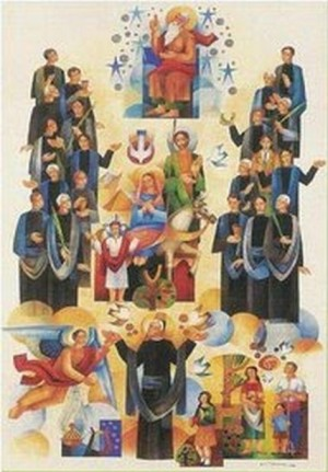 Ilustración contemporánea de los Beatos, junto a la Sagrada Familia y al fundador, San José Manyanet.