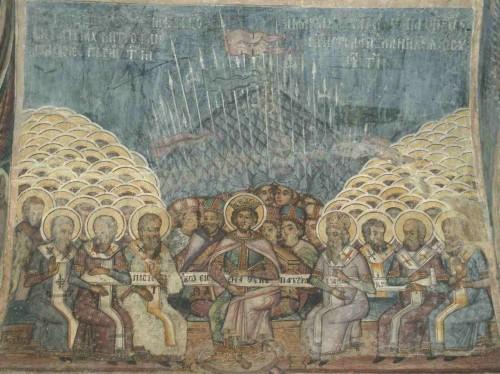 Concilio de Nicea. Fresco ortodoxo rumano (s.XVIII) en la iglesia Stauropoleos de Bucarest (Rumanía).