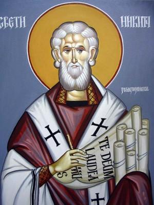 Fresco ortodoxo serbio del Santo.