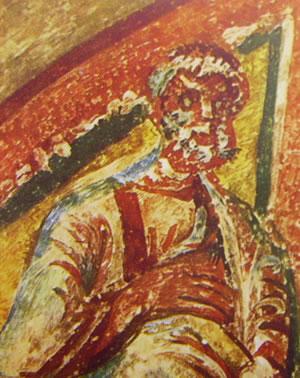 Detalle de San Pedro apóstol en un fresco paleocristiano de las catacumbas de Domitila, Roma (Italia).