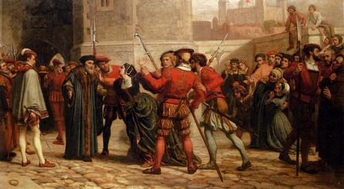 La hija del Santo sale a su encuentro después de emitida su sentencia de muerte. Óleo de William Frederick Yeames (1827).