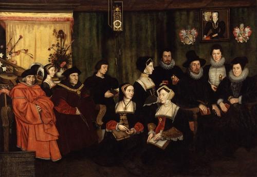 """""""Tomás Moro, su padre, sus criados y sus descendientes"""", óleo copia de Hans Holbein el Joven. National Gallery de Londres, Reino Unido."""