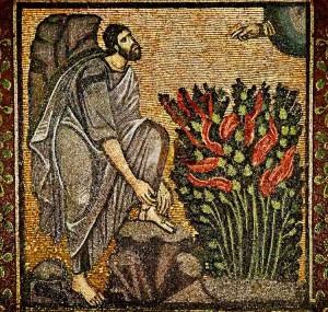 Moisés y la zarza ardiendo. Mosaico bizantino.