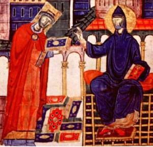 El Abad Desiderio de Montecasino, Papa Víctor III, recibe la bendición de San Benito. Codex Vaticanus Latinus, siglo XI.