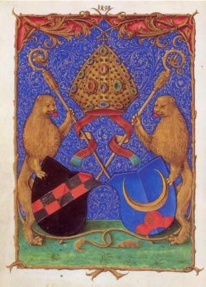Escudo de armas del Santo, rematado con las insignias de abad. Iluminación de un códice medieval.