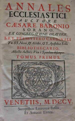 """Portada de los """"Annales ecclesiastici"""", obra del Venerable."""