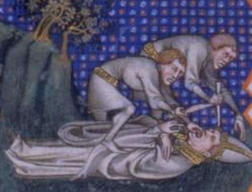 Martirio del Beato. Miniatura francesa del siglo XIV.