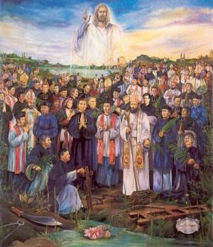 Tapiz de la canonización de los 117 mártires de Vietnam.