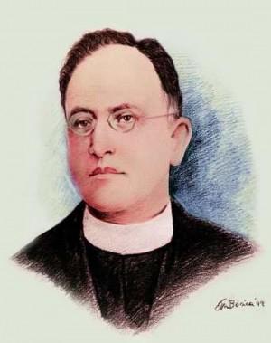Estampa de San Justino Orona, inspirado en la fotografía original suya.
