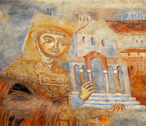 El abad Desiderio de Montecasino ofrece el modelo del monasterio, detalle de un fresco de Sant´Angelo in Formis, Capua, siglo XI.