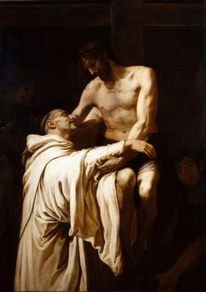 Cristo abrazando a San Bernardo, óleo de Francisco Ribalta (ca. 1626). Museo Nacional del Prado, Madrid (España).
