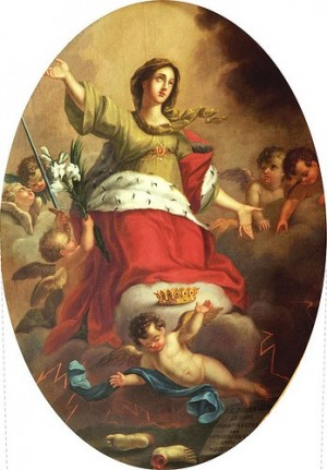 Lienzo de la Santa, obra de Agostino Cottolengo. Iglesia de los Batutti Neri, Bra (Italia).