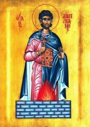 Icono ortodoxo griego que representa el martirio del Santo, que murió quemado vivo.
