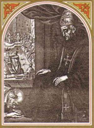 Grabado barroco de San Agatón con insignias pontificias y cogulla monástica. Al fondo se aprecia una sesión del III Concilio de Constantinopla.