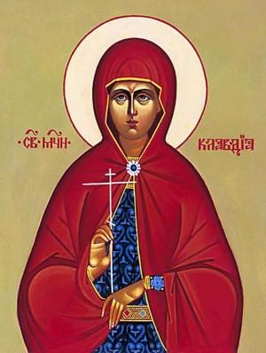 Icono ortodoxo ruso de Santa Claudia, virgen mártir de Amiso.