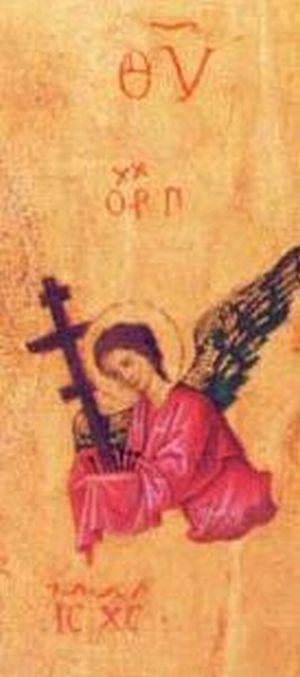 Detalle del arcángel Gabriel en el icono de la Panagia de la Pasión.