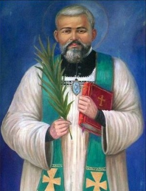Lienzo contemporáneo del Santo como sacerdote mártir.