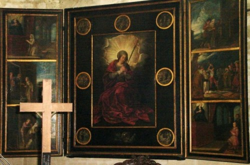 Retablo de la Virgen Dolorosa con episodios de la vida de la Beata a su alrededor: oración, limosna, calumnia, arresto, martirio y curación del calumniador.