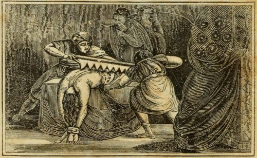 Martirio de la Santa en presencia de sus dos compañeras. Grabado de 1830 para una edición del Libro de los Mártires de John Foxe.