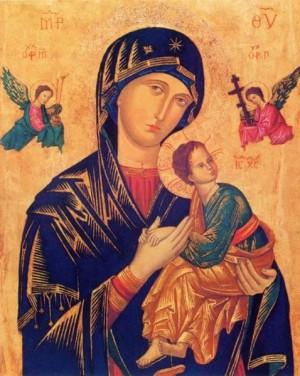 Vista del icono de la Panagia de la Pasión (Virgen del Perpetuo Socorro) tras su restauración.