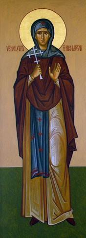 Detalle de Santa Olimpia, egumena mártir de Karyes, en un icono ortodoxo americano obra del iconógrafo Dmitry Shkolnik.
