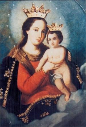 Óleo de la Virgen del Refugio, obra de Pablo Valdés. Basílica de San Sebastián de Analco, México.