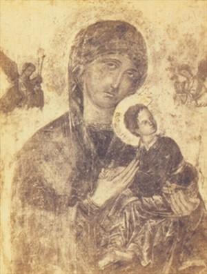 Vista del estado del icono antes de su restauración.