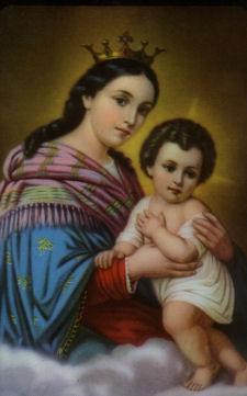Estampa devocional de la Virgen del Refugio, inspirada en la imagen original de Frascatti, Italia.