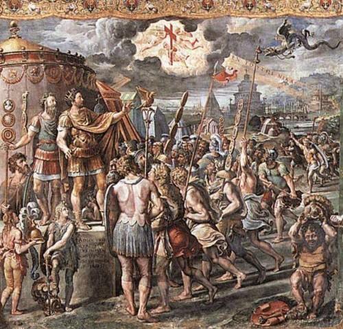 La visión de Constantino como aparece pintada por Rafael, 1524. Estancia de Rafael en el Palacio Apostólico del Vaticano, Roma (Italia).