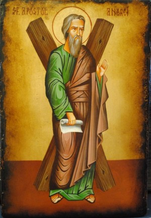 Icono ortodoxo rumano de San Andrés apóstol.