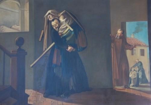 Lienzo del Padre Cristóbal socorriendo a los pobres.