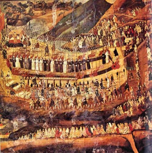 Pintura japonesa del siglo XVII representando el martirio de cristianos y misioneros en Nagasaki.