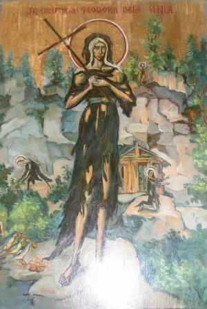 Icono ortodoxo rumano de la Santa, ya anciana y con el hábito desgarrado tras años de penitencias y vida en un entorno agreste.