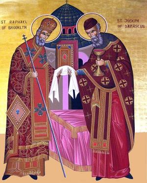 Icono ortodoxo norteamericano de los Santos José de Damasco y Rafael de Brooklyn.