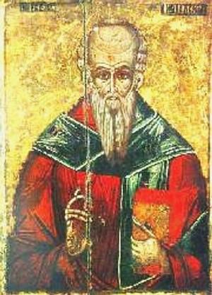 Icono ortodoxo griego de San Clemente de Alejandría.